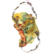Nativity Scene on Victorian Tinsel and Lithographed Scrap Christmas Ornament