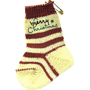 "Miniature Red and White Striped Vintage Christmas Stocking says ""Merry Christmas"""