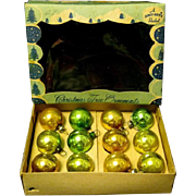 Vintage Box of 12 Miniature Glass Christmas Tree Ornaments, a Shiny Brite Product
