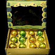 Vintage Box of 12 Miniature Glass Christmas Tree Ornaments, a Shiny Brite Product