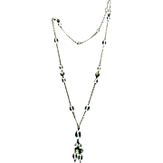 "Authentic ""Roaring Twenties"" 38"" Long Crystal and Silver Flapper Necklace"