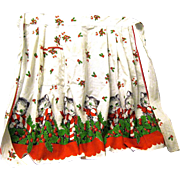 Christmas Kittens and Candy Canes on 1950's Cotton Holiday Apron