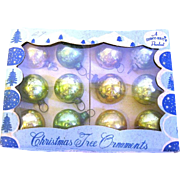 Vintage Box of 12 Miniature Glass christmas Tree Ornaments