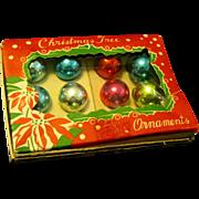 Boxed 1950's Mini Multi-colored Glass Ornaments