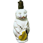 Working 1930's Figural Milk Glass Christmas Light Bulb, Cat Plays Mandolin
