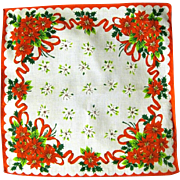 Vintage Red and White Poinsettia Christmas Hanky