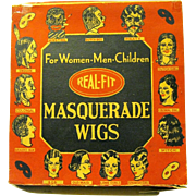 Original 1930's REAL-FIT Box holds Halloween Masquerade Wig