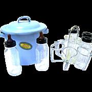 1950s AMSCO Doll-ee Toy Nurser Sterilizing Set in Blue Enamel Pot,  Mini Evenflo Glass Bottles