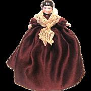 Small Elegantly Dressed Antique China Shoulder Head Dollhouse Doll