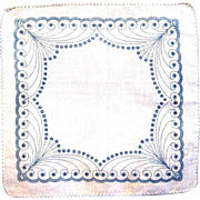 Lady's 19th Century Roller Printed Linen Handkerchief