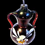 Dark Wine Vintage Mercury Glass Vase christmas Ornament, Free Blown Arms