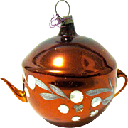 Old German Blown Glass Tea Pot Ornament, Free Blown Handle and Spout