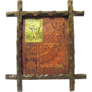 Carved Walnut Eastlake Cross Picture Frame Holds Victorian Scrapbook Album Cover