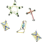 Five Beaded Glass Christmas Ornaments from the 1930s: Star, Stocking, Cross, Two Packages