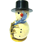 Tiny Cotton Dollhouse Snowman, Made in Western Germany