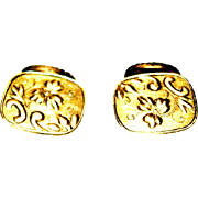 Victorian Gold filled: Fantasy Flowered Cuff Links