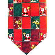 Squares of Santa and his Reindeer Cover this Bright Christmas Necktie