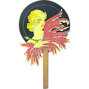 Vintage Art Deco Lady with Feathers Bridge Tally, Miniature Fan
