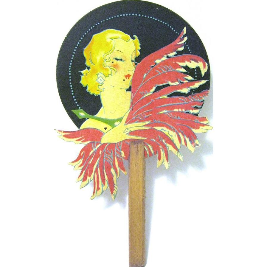 Vintage Art Deco Lady with Feathers Bridge Tally, Miniature Fan