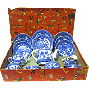 Vintage 1940's Blue Willow Toy Tea Set, in Original Box,  Japan