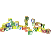 "Twenty-eight Mid-century Wooden ABC Blocks Spell ""Merry Christmas"", etc."