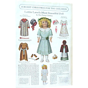 Authentic 2-Sided 1911 Christmas Magazine Page: Lettie Lane Doll & Christmas Dinner for Dolls