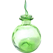 Pretty Transparent Green Bulbous Perfume Bottle with Apple Leaf Shaped Stopper