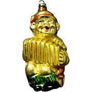 1920's German Blown Glass Christmas Ornament, Boy in Lederhosen