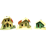 Three Vintage Japanese Putz Houses/Christmas Ornaments