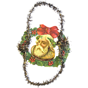 Victorian Scrap and Tinsel Father Christmas Ornament