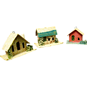 Three 1930s Christmas Putz Houses or Ornaments