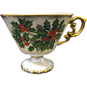 Vintage Pearlized Porcelain Footed Christmas Cup