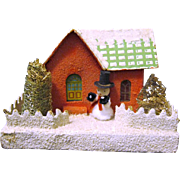 1930s' Mica Covered Putz or Village House for under the Christmas Tree