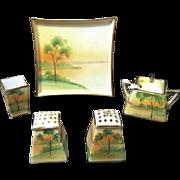 Vintage Nippon Hand Painted Porcelain 7-Piece Condiment Set