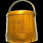 Large Oak firkin Yarn Holder or sugar Bucket, 1940s