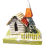 "Vintage ""Coconut"" Covered Village Christmas Putz House or Church , Japanese, 1930s"