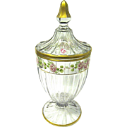 Elegant Heisey Glass Covered Candy Compote, Gilt Trim with Enameled Roses