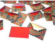 "Miniature 1"" x 1-1/2"" Paisley Envelopes with Red Card Inserts for Gift Enclosures"