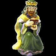 """King Melchior"" Hand Painted Bisque Figurine, Thomas Kinkade Nativity"
