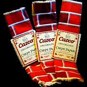 Three Packs of Unused 1930s' Fireplace Brick Patterned Crepe Paper