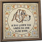 """Framed Embroidery, """"A dog Loves You When No One Else Does"""""""