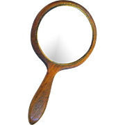 Charming Small Edwardian Wooden Hand Mirror