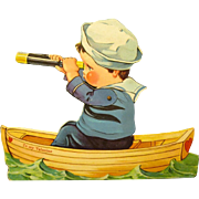 Sailor Boy in Boat with Spyglass on Mechanical Twelvetrees Valentine