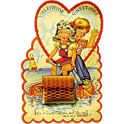 Children Ride a Paddle Boat on 1940's Honeycomb Valentine