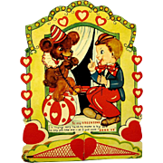 Boy with Trained Bear at Circus on 1940's Valentine with Honeycomb