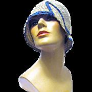 Fancy Blue Ribbon Trims Flapper's Straw Cloche from Hensen's Hat Shoppe