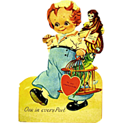 German Mechanical Die-Cut Valentine Shows Sailor with Monkey and Parrot