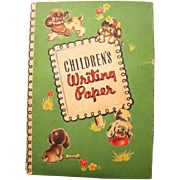 1940's Packet of Children's Stationery, Kitties, Puppies, and Teddy Bears