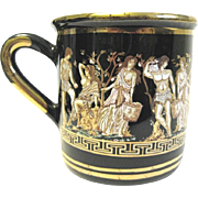 Vintage Cobalt Hand Made Pottery Greek Mythology Mug, 24K Gold Decoration
