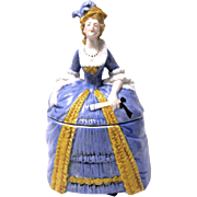 Porcelain Lady Powder Jar from Sitzendorf, Germany